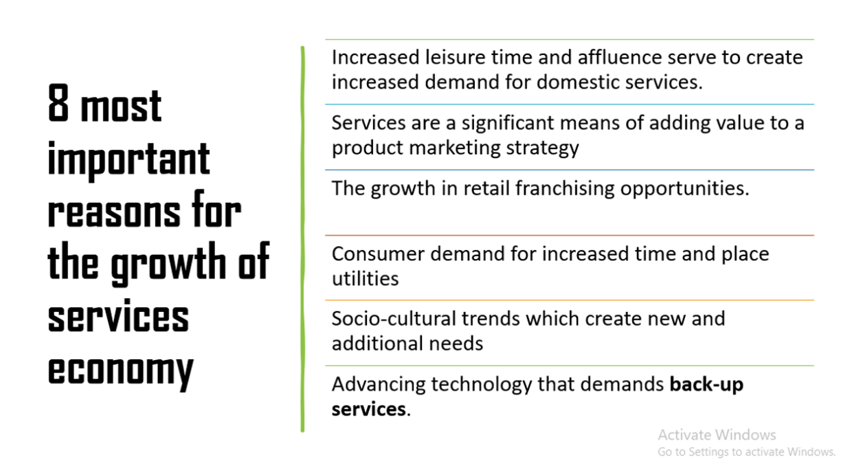 8 most important reasons for the growth of services economy